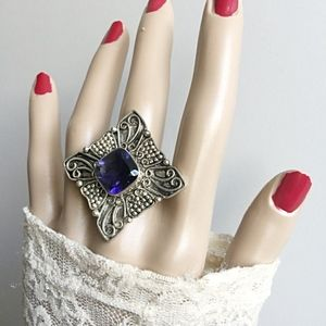 Jewelry - Large Vintage Sterling Iolite Cross Statement Ring